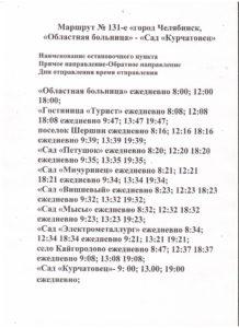 Сезонные автобусы 131